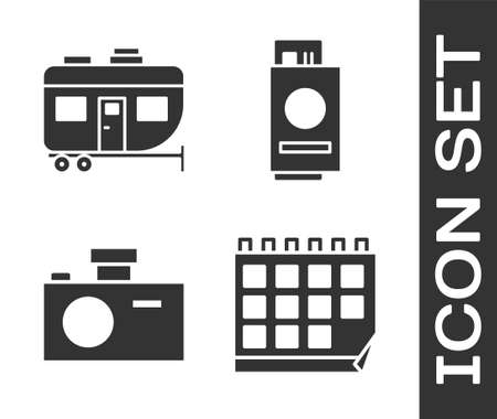 Set Calendar, Rv Camping trailer, Photo camera and Passport with ticket icon. Vector.