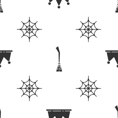 Set Crown, Witches broom and Spider web on seamless pattern. Vector.