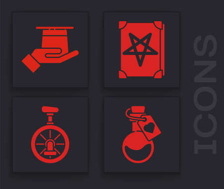Set Bottle with love potion, Magician hat in hand, Ancient magic book and Unicycle or one wheel bicycle icon. Vector.