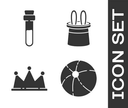 Set Beach ball, Bottle with love potion, Crown and Magician hat and rabbit ears icon. Vector.