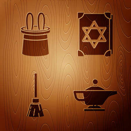 Set Magic lamp or Aladdin, Magician hat and rabbit ears, Witches broom and Ancient magic book on wooden background. Vector.