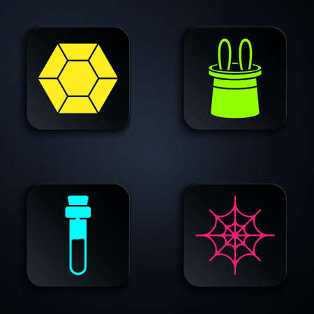 Set Spider web, Magic stone, Bottle with love potion and Magician hat and rabbit ears. Black square button. Vector.