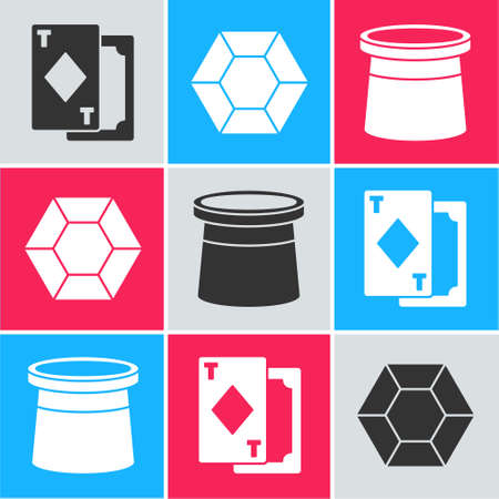 Set Playing cards, Magic stone and Magician hat icon. Vector.