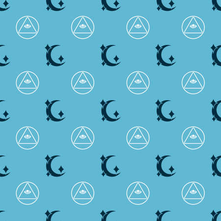 Set Moon and stars and Masons on seamless pattern. Vector.