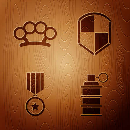 Set Hand grenade, Brass knuckles, Military reward medal and Shield on wooden background. Vector. Vectores