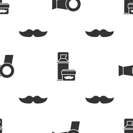 Set Hair dryer, Shaving gel foam and Mustache on seamless pattern. Vector. Çizim