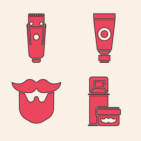 Set Shaving gel foam, Electrical hair clipper or shaver, Cream or lotion cosmetic tube and Mustache and beard icon. Vector.