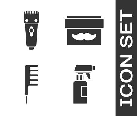Set Hairdresser pistol spray bottle, Electrical hair clipper or shaver, Hairbrush and Cream or lotion cosmetic jar icon. Vector.