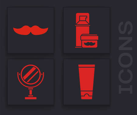 Set Cream or lotion cosmetic tube, Mustache, Shaving gel foam and Round makeup mirror icon. Vector.