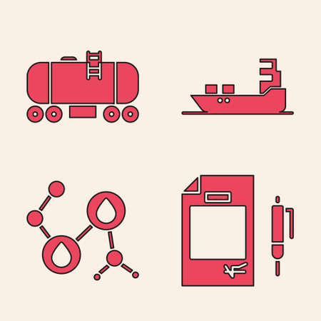 Set Contract money and pen, Oil railway cistern, Oil tanker ship and Molecule oil icon. Vector.