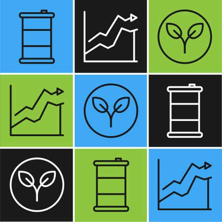 Set line Barrel oil, Bio fuel and Oil price increase icon. Vector. Illusztráció