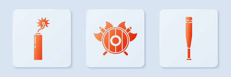 Set Medieval shield with crossed axes, Dynamite bomb stick clock and Baseball bat. White square button. Vector.