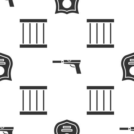 Set Police badge, Pistol or gun with silencer and Prison window on seamless pattern. Vector. Illusztráció