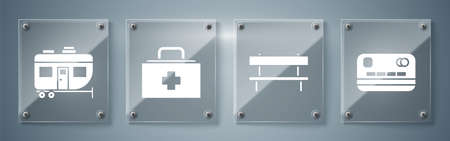 Set Credit card, Bench, First aid kit and Rv Camping trailer. Square glass panels. Vector.