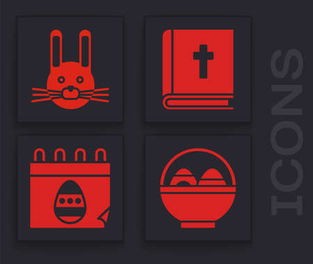 Set Basket with easter eggs, Easter rabbit, Holy bible book and Calendar with Easter egg icon. Vector.