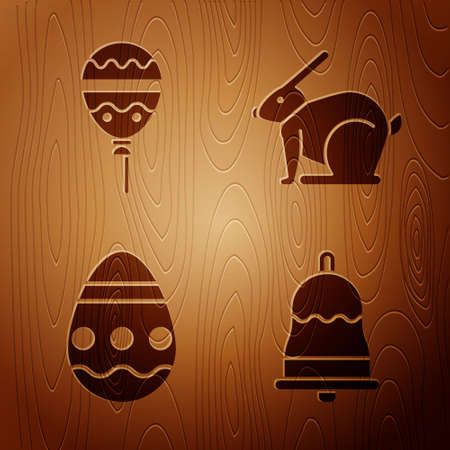 Set Ringing bell, Balloons with ribbon, Easter egg and Easter rabbit on wooden background. Vector.