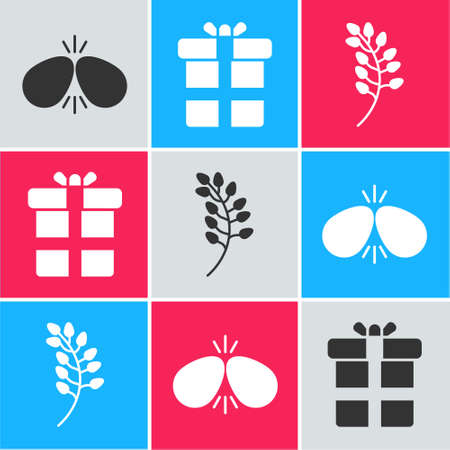 Set Easter eggs, Gift box and Willow leaf icon. Vector. Stock Illustratie