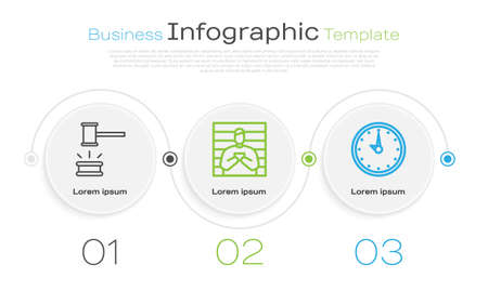 Set line Judge gavel, Suspect criminal and Clock. Business infographic template. Vector.