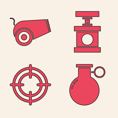 Set Hand grenade, Cannon, Handle detonator for dynamite and Target sport icon. Vector.
