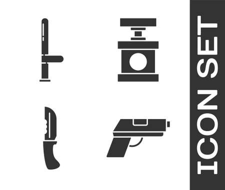 Set Pistol or gun, Police rubber baton, Military knife and Handle detonator for dynamite icon. Vector.