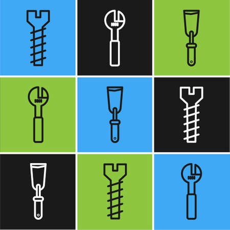 Set line Metallic screw, Putty knife and Adjustable wrench icon. Vector.
