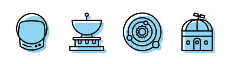 Set line Solar system, Astronaut helmet, Planet Saturn and Astronomical observatory icon. Vector.