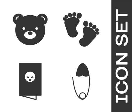 Set Classic steel safety pin, Teddy bear plush toy, Baby shower invitations card, poster and Baby footprints icon. Vector. Illustration