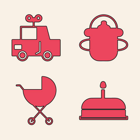 Set Cake with burning candles, Toy car, Baby bottle and Baby stroller icon. Vector.