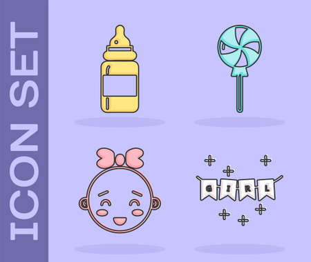 Set Carnival garland with flags, Baby bottle, Happy little girl head and Lollipop icon. Vector.