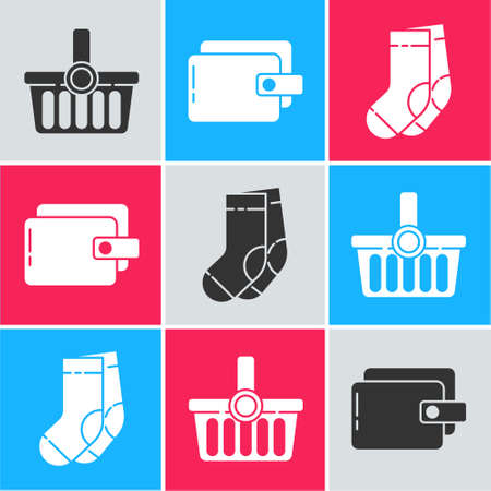 Set Shopping basket, Wallet and Socks icon. Vector.