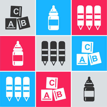 Set ABC blocks, Baby bottle and Wax crayons for drawing icon. Vector.