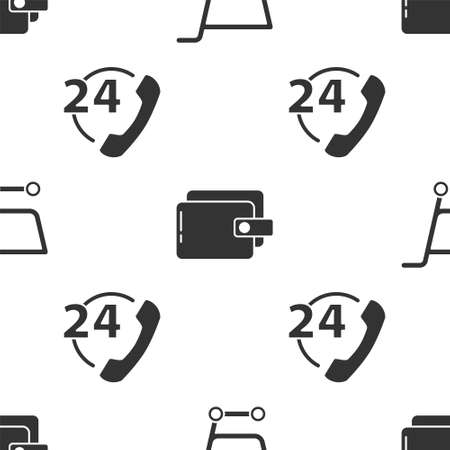 Set Shopping cart, Wallet and Telephone 24 hours support on seamless pattern. Vector.