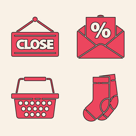 Set Socks, Hanging sign with Closed, Envelope with an interest discount and Shopping basket icon. Vector.