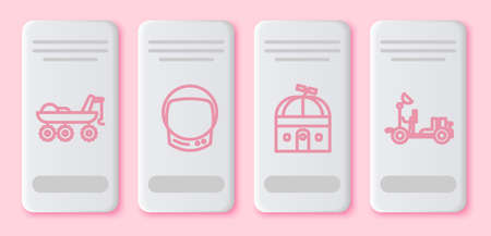 Set line Mars transport, Astronaut helmet, Astronomical observatory and Mars rover. White rectangle button. Vector.
