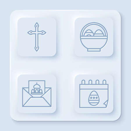 Set line Christian cross, Basket with easter eggs, Greeting card with Happy Easter and Calendar with Easter egg. White square button. Vector. Stock Illustratie