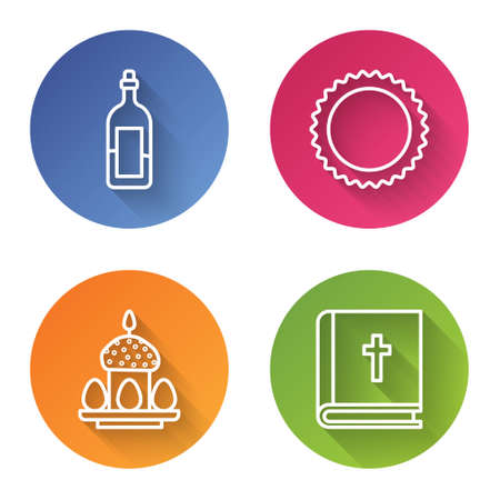 Set line Bottle of wine, Sun, Easter cake and eggs and Holy bible book. Color circle button. Vector.