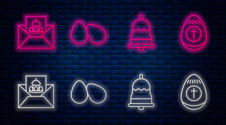 Set line Easter eggs, Ringing bell, Greeting card with Happy Easter and Easter egg. Glowing neon icon on brick wall. Vector. Stock Illustratie
