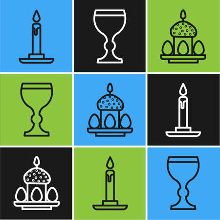 Set line Burning candle in candlestick, Easter cake and eggs and Wine glass icon. Vector.