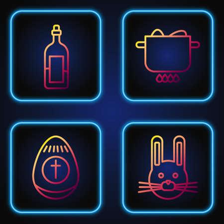 Set line Easter rabbit, Easter egg, Bottle of wine and Egg in hot pot. Gradient color icons. Vector.