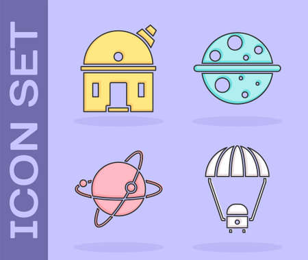 Set Space capsule and parachute, Astronomical observatory, Satellites orbiting the planet Earth and Planet Saturn icon. Vector. Stock Illustratie