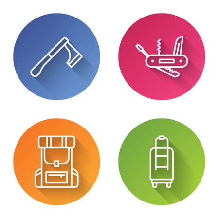 Set line Wooden axe, multifunction knife, Hiking backpack and Suitcase. Color circle button. Vector.