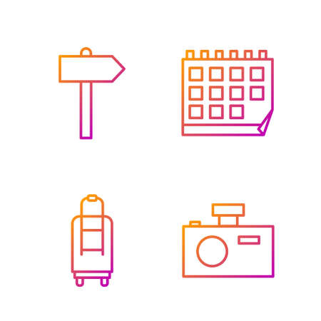 Set line Photo camera, Suitcase, Road traffic signpost and Calendar. Gradient color icons. Vector. 일러스트