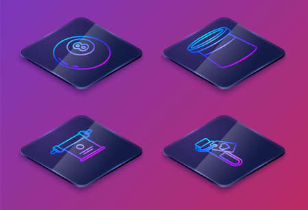 Set Isometric line Magic ball of predictions, Magic scroll, Magician hat and Bottle with love potion. Blue square button. Vector.