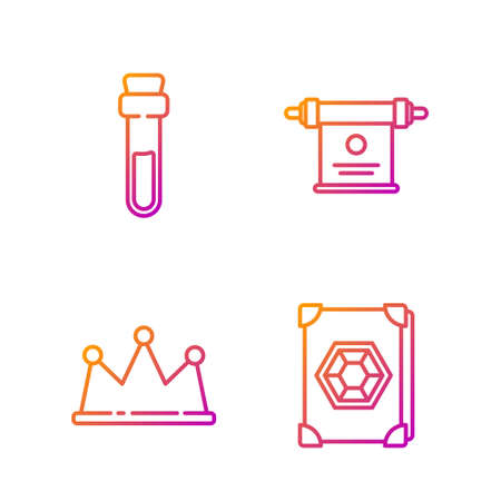 Set line Ancient magic book, Crown, Bottle with love potion and Magic scroll. Gradient color icons. Vector. Stock Illustratie