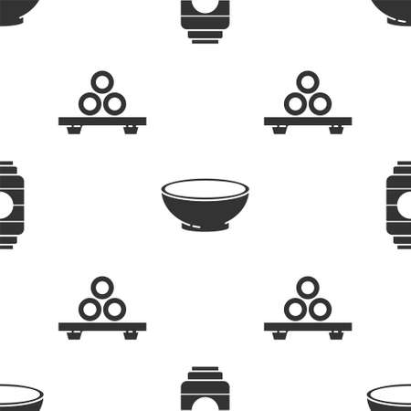 Set Japanese paper lantern, Bowl of hot soup and Sushi on cutting board on seamless pattern. Vector.