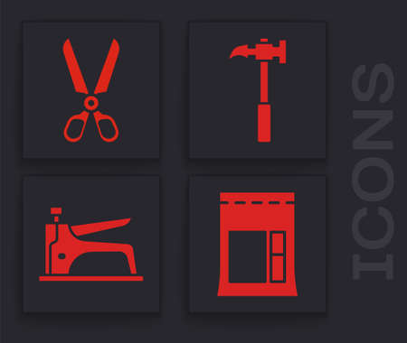 Set Cement bag, Scissors, Claw hammer and Construction stapler icon. Vector.