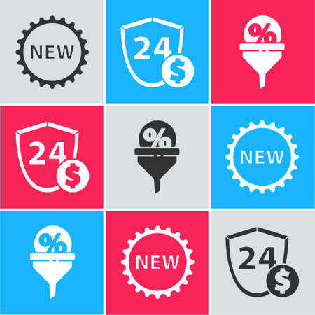 Set Price tag with New, Shield with dollar and Lead management icon. Vector.