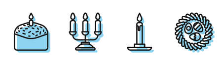 Set line Burning candle in candlestick, Easter cake and candle, Candelabrum with candlesticks and Easter egg in a wicker nest icon. Vector.