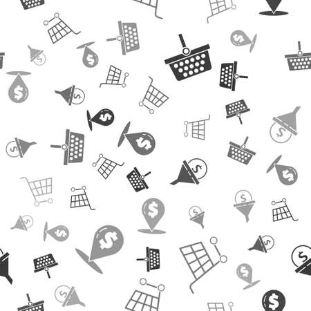Set Shopping basket, Shopping cart, Lead management and Cash location pin on seamless pattern. Vector. Ilustracja