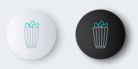 Line Popcorn in cardboard box icon isolated on grey background. Popcorn bucket box. Colorful outline concept. Vector. Ilustrace